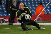 Manchester City goalkeeper Wilfredo Caballero  during the Champions League match between Manchester City and Borussia Monchengladbach at the Etihad Stadium, Manchester, England on 8 December 2015. Photo by Simon Davies.