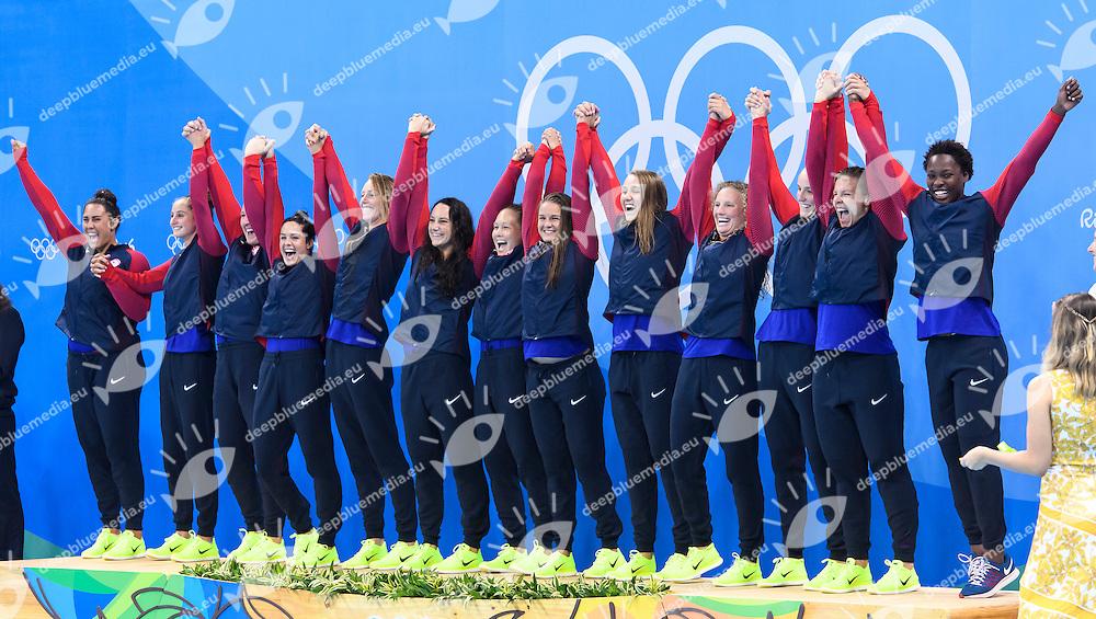 TEAM USA GOLD MEDAL <br /> Rio de Janeiro 19-08-2016 Olympic Aquatics Stadium  - Water Polo <br /> Medal Ceremony <br /> Foto Andrea Staccioli/Deepbluemedia/Insidefoto