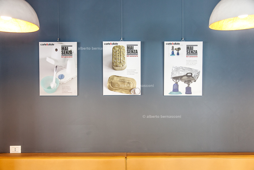 Milan, Bollate, InGalera Restaurant: picturs of selfmade survivor object made by the prisoners