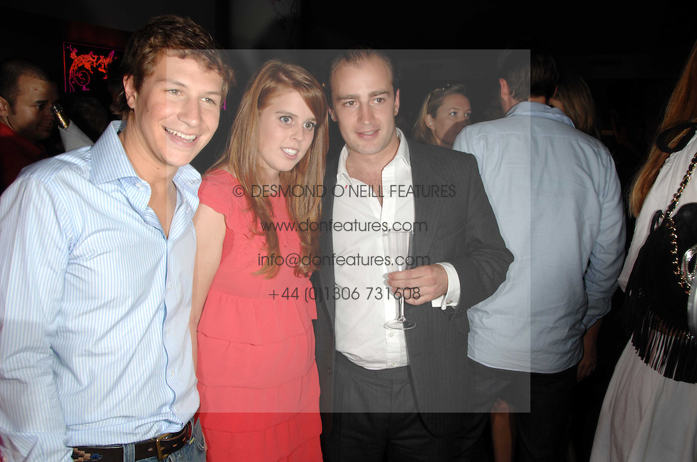 Left to right, DAVE CLARK, PRINCESS BEATRICE and JAMES AMOS at a party to celebrate the launch of the Boodles Wonderland jewellery collection held at the Haymarket Hotel, 1 Suffolk Place, London on 9th June 2008.<br />