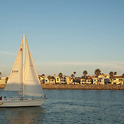 Sailboat leaving Marina. Channel Islands, CA.