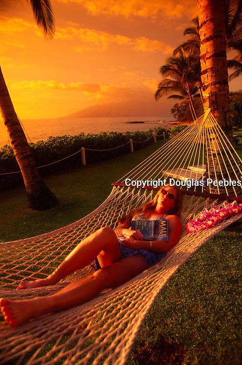 Woman in hammock, Maui, Hawaii<br />