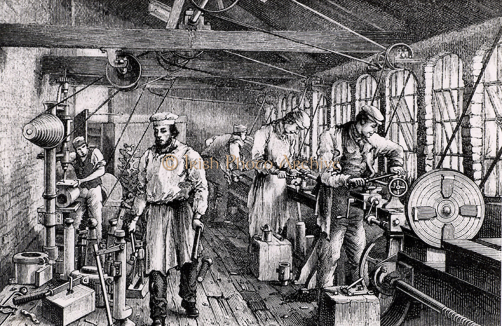 Small engineering works in which the Tangy brothers made machine tools in the 1850s. From 'One and All' by Richard Tangye (London, c1889).  Richard Tangye (1833-1906) English engineer of Cornish Quaker origin, supplied hydraulic jacks for the launch of the SS Great Eastern. He instituted Saturday half holiday for his factory workers.