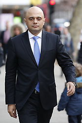 © Licensed to London News Pictures. 03/04/2019. London, UK. Home Secretary Sajid Javid walks to work in Westminster. Prime Minister Theresa May has called for talks with Labour Party Leader Jeremy Corbyn to seek a way forward with the Brexit deadlock. Photo credit: Peter Macdiarmid/LNP