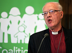 © Licensed to London News Pictures. 20/02/2012, London, UK. GEORGE CAREY. George Carey, former Archbishop of Canterbury, attends the launch of a new campaign against same sex marriage today, 20 February 2012. Colin Hart, campaign director of the Coalition for Marriage, who have published a report saying the British public reject gay marriage, chaired a press conference at One Great George Street, Westminster. Photo credit : Stephen Simpson/LNP