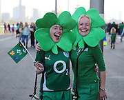 Ireland fans prior to the game during the Rugby World Cup Pool D match between Ireland and Italy at the Queen Elizabeth II Olympic Park, London, United Kingdom on 4 October 2015. Photo by Matthew Redman.