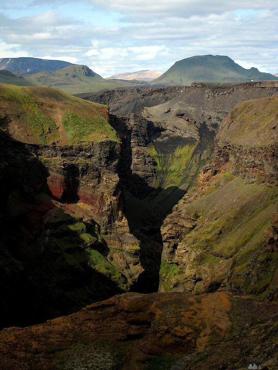 A deep canyon near the huts at Emstrur, along the Laugavegur Trail in southern Iceland.