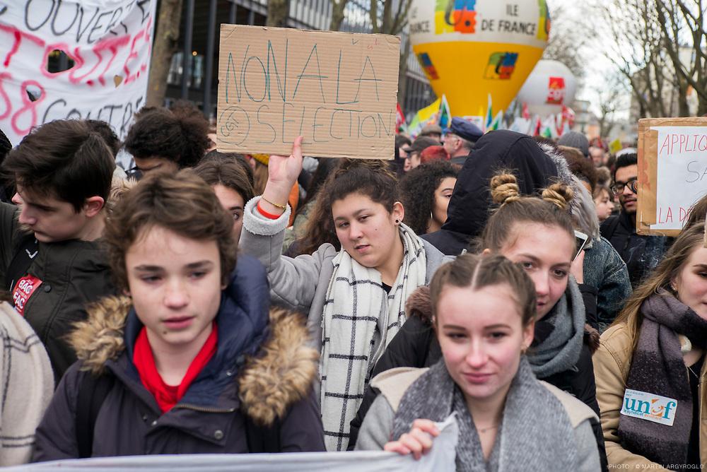 Manifestation des étudiants et lycéens contre les réformes de l'accès à l'université et au bac (loi Vidal). Samedi 1er février 2018 à Paris, de Jussieu à la Sorbonne