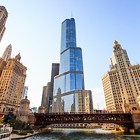 Picture of Chicago Trump Tower at Michigan Avenue Bridge (DuSable Bridge) with Wrigley building and Crain Communications building along the Chicago River.