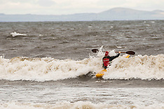Kayaker heads into the waves, Edinburgh, 20 October 2019