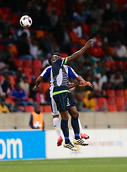 Sphamandla Mlilo of Platinum Stars takes the header during the 2016 Premier Soccer League match between Chippa United and Platinum Stars held at the Nelson Mandela Bay Stadium in Port Elizabeth, South Africa on the 28th October 2016<br />