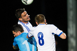 Andraz Kirm of Slovenia vs Tziolis Alexandros of Greece and Papadopoulus Avraam of Greece during friendly football match between national teams of Slovenia and Greece, on May 26, 2012 in Kufstein, Austria.   (Photo by Vid Ponikvar / Sportida.com)