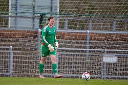 NEWPORT, WALES - Friday, April 1, 2016: Wales' goalkeeper Deanna Lewis looks dejected as England score the opening goal during Day 1 of the Bob Docherty International Tournament 2016 at Dragon Park. (Pic by David Rawcliffe/Propaganda)