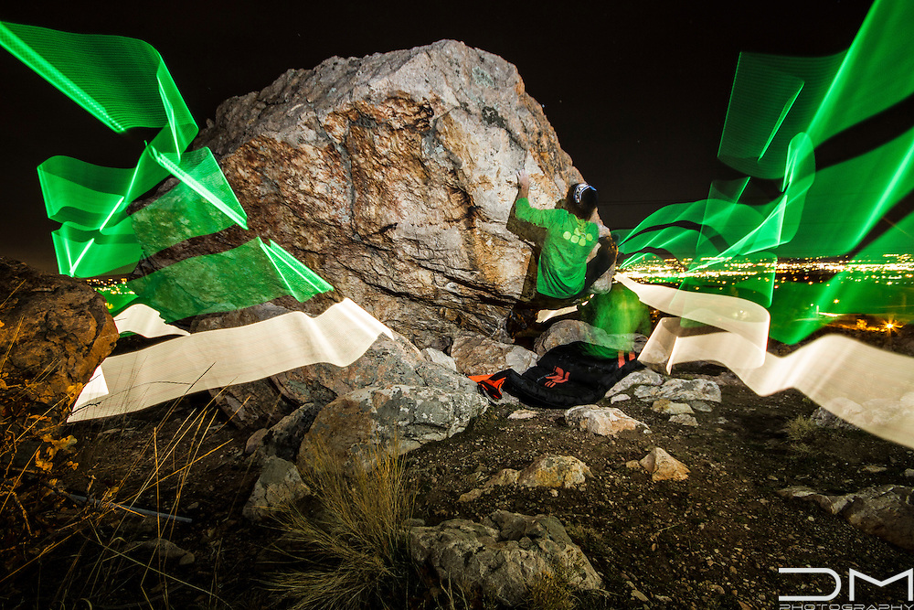 Bouldering at night using a Pixelstick to create the light painting