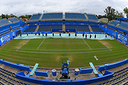 General view of the court as the grounds people roll back the rain covers ahead of the Final of the Aegon Classic Birmingham at Edgbaston Priory Club, Edgbaston, United Kingdom on 25 June 2017. Photo by Martin Cole.