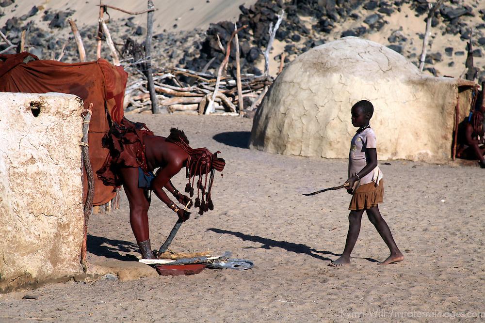 Africa, namibia, Kunene. Life at a Himba village.