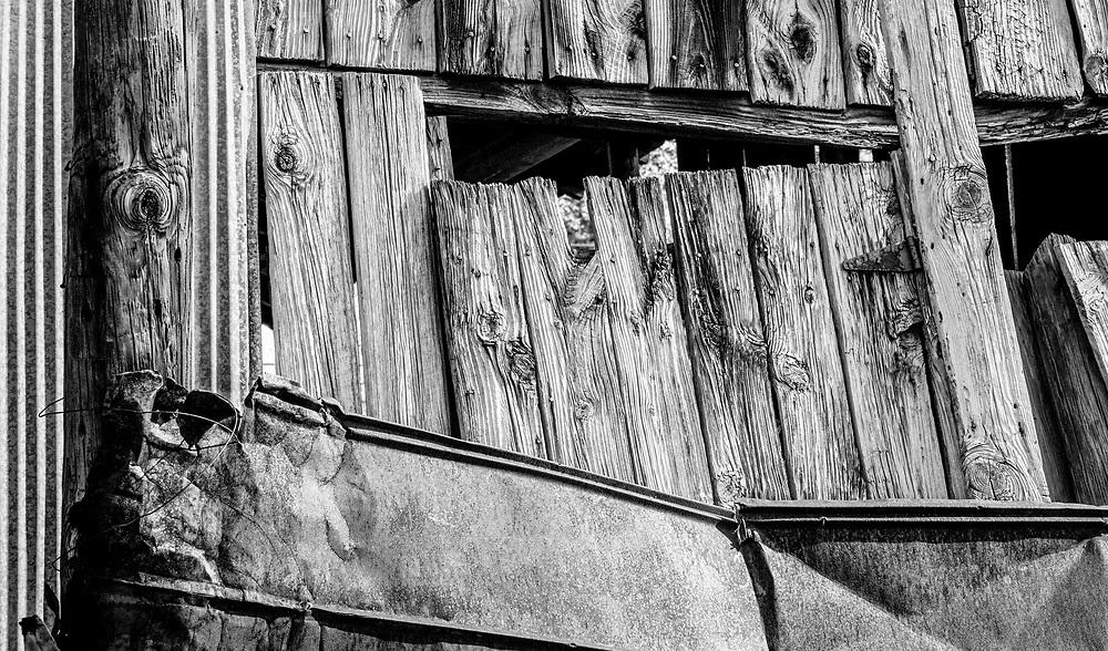 Detail of barn at Jordan Farms in High Point, North Carolina.