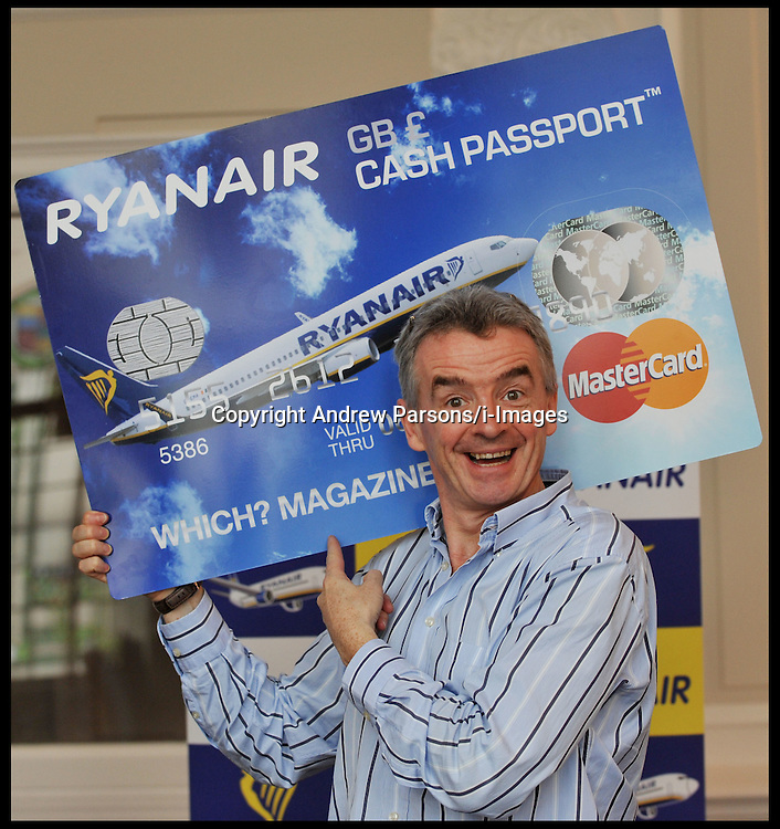 Ryanair's Michael O'Leary launches Ryanair's Cash Passport, London, Tuesday October 11, 2011. Photo By Andrew Parsons/i-Images