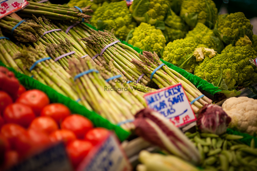 2017 DECEMBER 05 - Fresh vegetables for sale at Pike Place Market, Seattle, WA, USA. By Richard Walker
