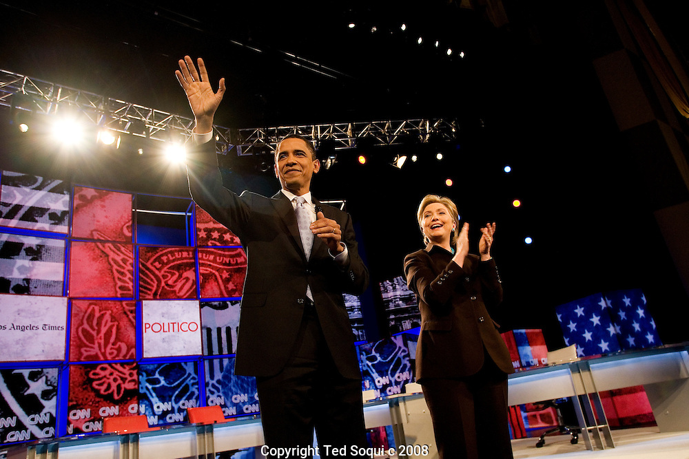 Barack Obama and Hillary Clinton inside the Kodak Theatre..Hillary Clinton and Barack Obama debate at the Kodak Theatre in Los Angeles.