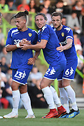 Leeds United's Kaylin Phillips(23) Leeds United's Luke Ayling(2) and Leeds United's Liam Cooper(6) prepare for a corner during the Pre-Season Friendly match between Forest Green Rovers and Leeds United at the New Lawn, Forest Green, United Kingdom on 17 July 2018. Picture by Alan Franklin.
