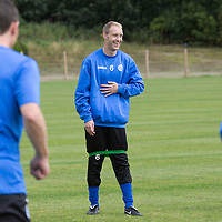 St Johnstone Training...15.08.14<br /> Steven Anderson having fun in training this morning ahead of tomorrow's match at Hamilton.<br /> Picture by Graeme Hart.<br /> Copyright Perthshire Picture Agency<br /> Tel: 01738 623350  Mobile: 07990 594431