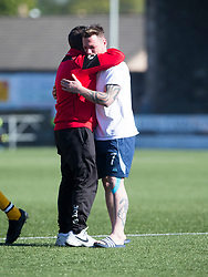 Annan Athletic's manager Jim Chapman with Forfar Athletic's David Cox after the final whistle. Forfar Athletic 2 v 4 Annan Athletic, Scottish Football League Division Two game played 6/5/2017 at Station Park.