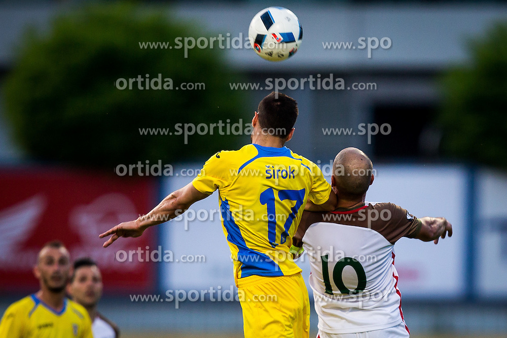 Matija Sirok of NK Domzale vs Luis Reis Dos of FC Lusitanos during football match between NK Domzale and FC Lusitanos Andorra in first match of UEFA Europa League Qualifications, on June 30, 2016 in Sports park Domzale, Domzale, Slovenia. Photo by Ziga Zupan / Sportida