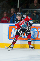 KELOWNA, CANADA - OCTOBER 11:  Myles Bell #29 of  the Kelowna Rockets looks for the pass against the Seattle Thunderbirds on October 11, 2013 at Prospera Place in Kelowna, British Columbia, Canada (Photo by Marissa Baecker/Shoot the Breeze) *** Local Caption ***