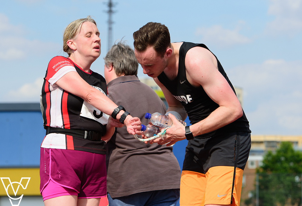 Metro Blind Sport's 2017 Athletics Open held at Mile End Stadium.  5000m.  Lynn Cox with guide runner<br /> <br /> Picture: Chris Vaughan Photography for Metro Blind Sport<br /> Date: June 17, 2017