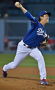 Dodger pitcher Kenta Maeda in the 2nd inning. The Los Angele Dodgers played the Los Angeles Angels of Anaheim in the 2nd game of the pre-season freeway series at Dodger Stadium in Los Angeles, CA.  April 1, 2016.  (Photo by John McCoy/Los Angeles News Group)