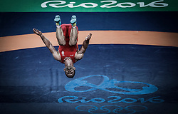 in the men's Greco-Roman 66kg Golden medal match of the Rio 2016 Olympic Games Wrestling events at the Carioca Arena 2 in the Olympic Park in Rio de Janeiro, Brazil, 16 August 2016.