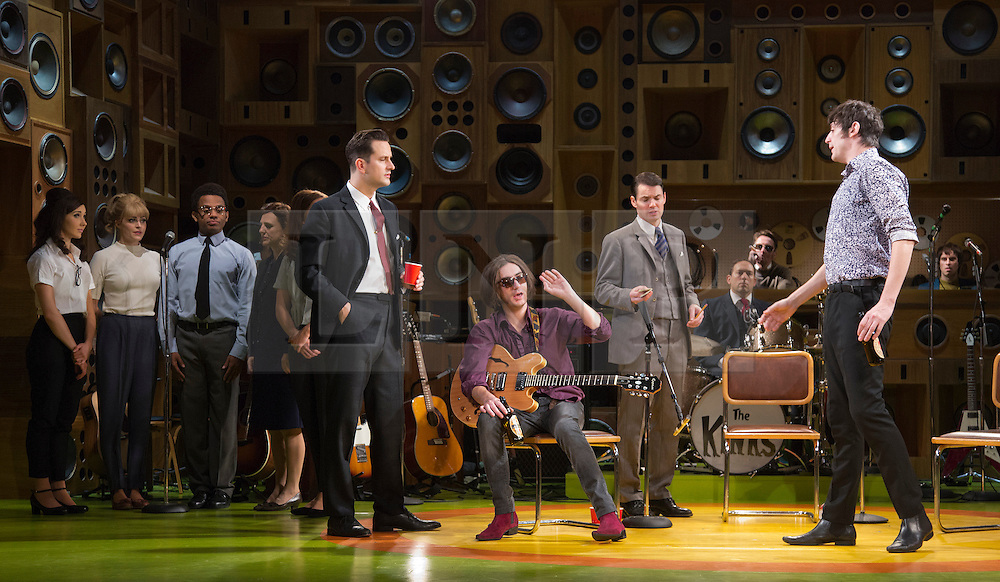 """© Licensed to London News Pictures. 24/10/2014. London, England. George Maguire as Dave Davies (centre) and John Dagleish as Ray Davies (right). Photocall for The Kinks Musical """"Sunny Afternoon"""" at the Harold Pinter Theatre, London, UK. Photo credit: Bettina Strenske/LNP"""