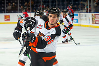 KELOWNA, BC - NOVEMBER 8: Nick McCarry #36 of the Medicine Hat Tigers takes a shot on net during warm up against the Kelowna Rockets at Prospera Place on November 8, 2019 in Kelowna, Canada. (Photo by Marissa Baecker/Shoot the Breeze)