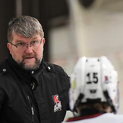 GEORGETOWN, ON - DECEMBER 22: Georgetown Raiders Head Coach on December 22, 2018 at Gordon Alcott Memorial Arena in Georgetown, Ontario, Canada.<br /> (Photo by Ken Lamb / OJHL Images)