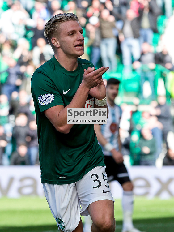 Hibernian FC v Hearts FC<br /> <br /> Jason Cummings (Hibernian) celebrates opening goal for Hibs during the SPFL Championship match between Hibernian and Hearts FC at Easter Road Stadium on Sunday 12 April 2015.<br /> <br /> <br /> <br /> Picture Alan Rennie.