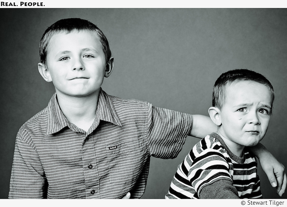 BW portrait of two brothers.