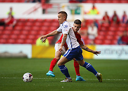 Kieron Morris of Walsall (L) and Jamie Paterson of Nottingham Forest in action - Mandatory byline: Jack Phillips / JMP - 07966386802 - 11/08/15 - FOOTBALL - The City Ground - Nottingham, Nottinghamshire - Nottingham Forest v Walsall - Football League Cup Round 1