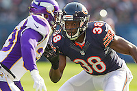 25 November 2012: Corner back (38) Zackary Bowman of the Chicago Bears in game action against the Minnesota Vikings during the first half of the Bears 28-10 victory over the Vikings in an NFL football game at Soldier Field in Chicago, IL.