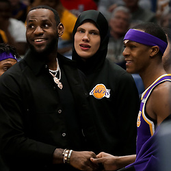 Mar 31, 2019; New Orleans, LA, USA; Los Angeles Lakers forward LeBron James talks with forward Jemerrio Jones (9) during the second half against the New Orleans Pelicans at the Smoothie King Center. Mandatory Credit: Derick E. Hingle-USA TODAY Sports