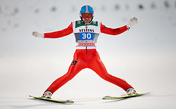 06.01.2015, Paul Ausserleitner Schanze, Bischofshofen, AUT, FIS Ski Sprung Weltcup, 63. Vierschanzentournee, Finale, im Bild Dimitry Vassiliev (RUS) // Dimitry Vassiliev of Russia reacts after his first Final Jump of 63rd Four Hills Tournament of FIS Ski Jumping World Cup at the Paul Ausserleitner Schanze, Bischofshofen, Austria on 2015/01/06. EXPA Pictures © 2015, PhotoCredit: EXPA/ Johann Groder