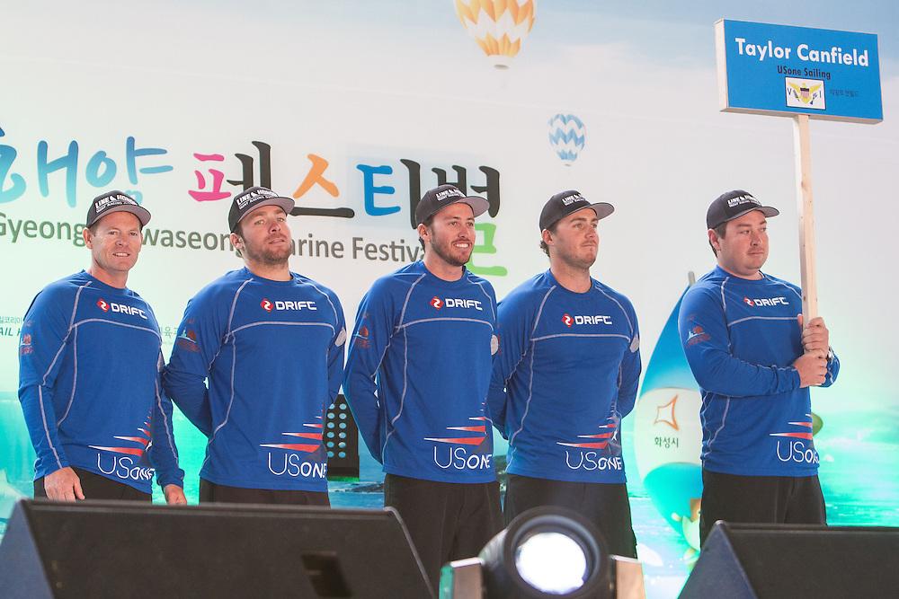 USOne Sailing Team during the opening ceremony at Korea Match Cup 2013. Gyeonggi Province, Korea. 29 May 2013 Photo: Subzero Images/AWMRT