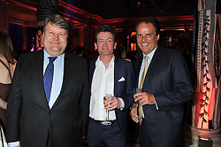 Left to right, LORD STRATHCLYDE, FEARGAL SHARKEY and FRANK FIELD MP (Check!) at the 50th birthday party for Jonathan Shalit held at the V&A Museum, London on 17th April 2012.