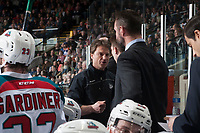 KELOWNA, CANADA - APRIL 14: Kelowna Rockets' athletic therapist Scott Hoyer stands on the bench against the Portland Winterhawks on April 14, 2017 at Prospera Place in Kelowna, British Columbia, Canada.  (Photo by Marissa Baecker/Shoot the Breeze)  *** Local Caption ***