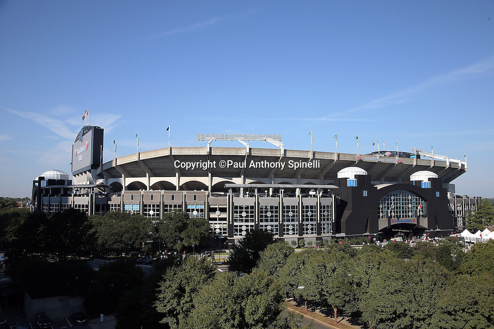 Bank of America Stadium stands tall in this photograph taken from the exterior before the Carolina Panthers 2015 NFL week 2 regular season football game against the Houston Texans on Sunday, Sept. 20, 2015 in Charlotte, N.C. The Panthers won the game 24-17. (©Paul Anthony Spinelli)