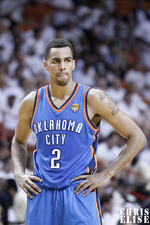 19 June 2012: Oklahoma City Thunder shooting guard Thabo Sefolosha (2) rests during the third quarter of Game 4 of the 2012 NBA Finals, Thunder at Heat, at the AmericanAirlinesArena, Miami, Florida, USA.
