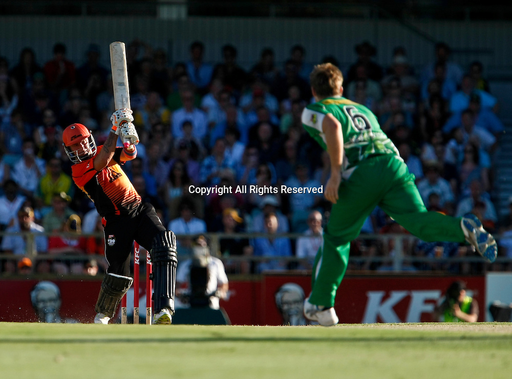 21.01.2012. Perth Australia. Big Bash Cricket.  Herschelle Gibbs hits another four runs in the Semi Final between the Perth Scorchers and Melbourne Stars.