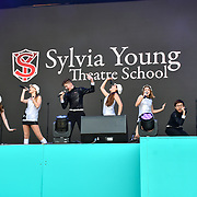 Sylvia Young Theatre School performs at West End Live 2019 in Trafalgar Square, on 22 June 2019, London, UK.