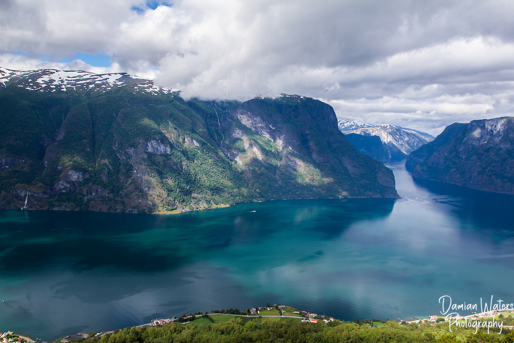 View along Aurlandsfjord from Stegastein viewpoint, Aurland - Norway, August