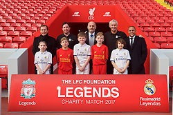 LIVERPOOL, ENGLAND - Monday, December 5, 2016: Emilio Butragueño, Robbie Fowler, Ricardo Gallego, Ian Rush and Roberto Carlos help launch the Liverpool FC Foundation charity match between the Liverpool Legends and Real Madrid to be played at Anfield on Saturday March 25 2017. (Pic by David Rawcliffe/Propaganda)
